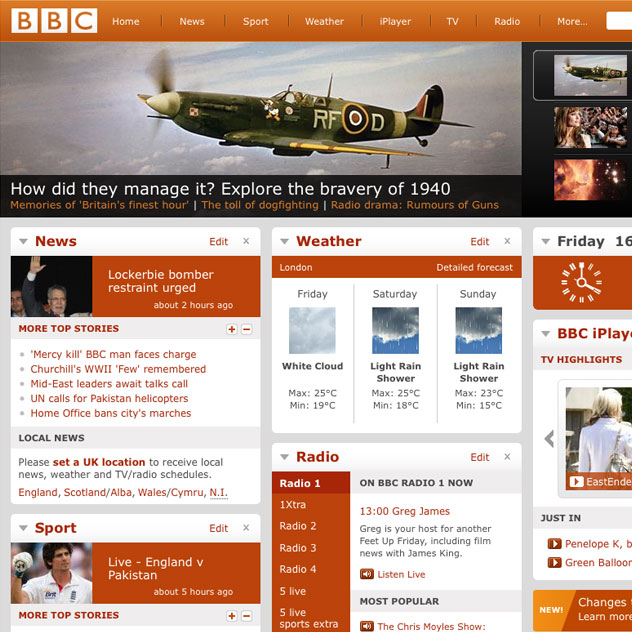 The BBC Homepage